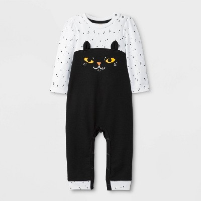 Baby Girls' Halloween Cat Long Sleeve Romper - Cat & Jack™ Black/White 0-3M