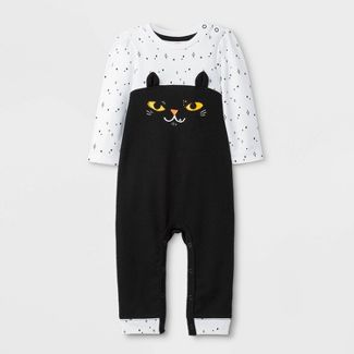 Baby Girls' Halloween Cat Long Sleeve Romper - Cat & Jack™ Black/White Newborn