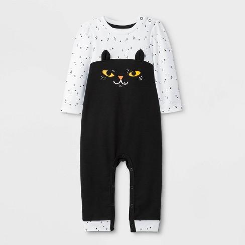 Baby Girls' Halloween Cat Long Sleeve Romper - Cat & Jack™ Black/White - image 1 of 2