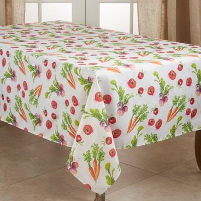 """120"""" x 65"""" Polyester Veggie Print Tablecloth - Saro Lifestyle"""