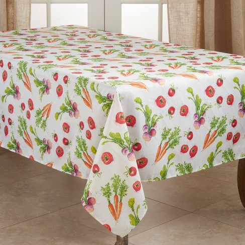 "104"" x 65"" Polyester Veggie Print Tablecloth - Saro Lifestyle - image 1 of 4"