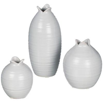 """Sullivans Set of 3 Mini Vases 8""""H, 5""""H & 4""""H Gray"""