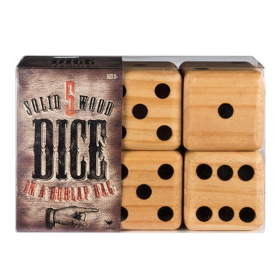 Giant Solid 5pc Wood Dice Game