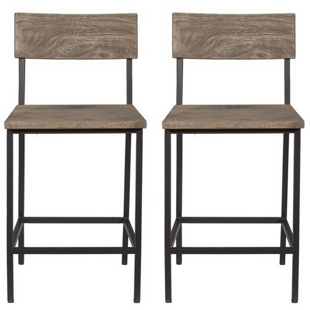 Set Of 2 Tundra Counter Height Dining Chairs Gray - Treasure Trove