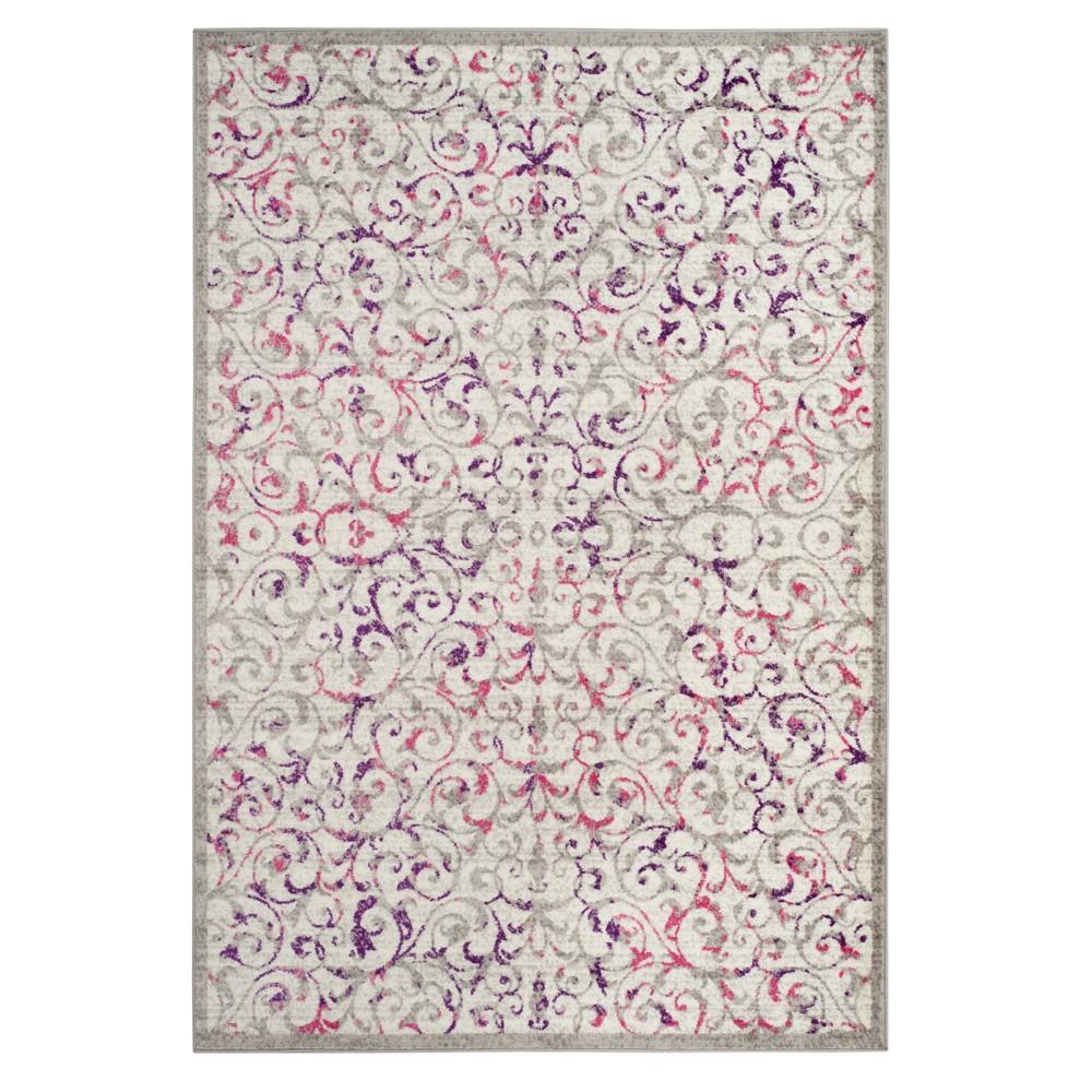 Ivory/Pink Swirl Loomed Area Rug 9'X12' - Safavieh