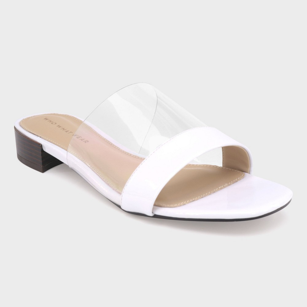Women's Piper Clear Acrylic Heeled Slide Sandals - Who What Wear White 7