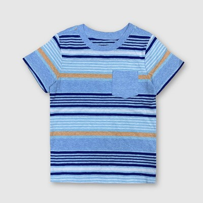Toddler Boys' Slub Striped T-Shirt - Cat & Jack™ Blue 3T