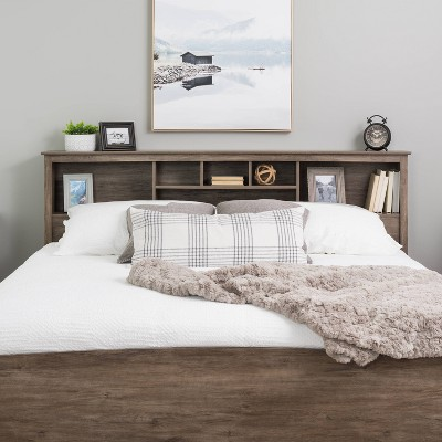 King Bookcase Headboard Drifted Gray - Prepac