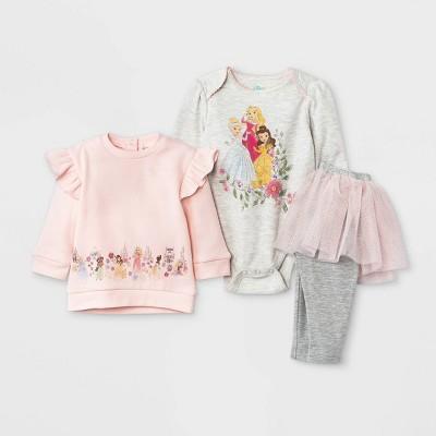 Baby Girls' 3pc Disney Princess Fleece Pullover and Tutu Leggings Set - Light Pink