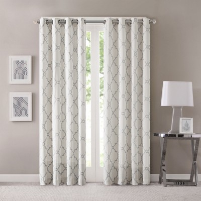 Sereno Fretwork Print Curtain Panel Ivory (50 x63 )