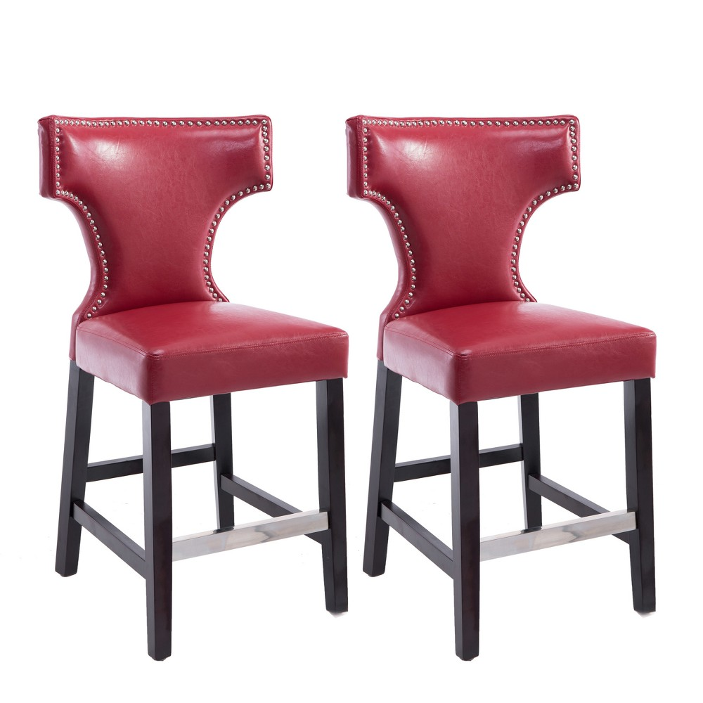 Set of 2 Counter And Bar Stools Red - CorLiving