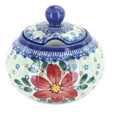 Blue Rose Polish Pottery Poinsettia Large Sugar Bowl
