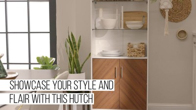 """68"""" 3 Shelf Bookcase Hutch Style Bookmatch Vertical - Saracina Home : Target"""