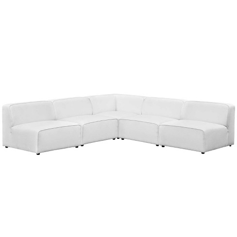 Mingle 5pc Upholstered Fabric Sectional Sofa Set White - Modway - image 1 of 4
