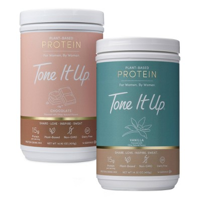 Tone It Up Chocolate + Vanilla Plant Based Protein Powder - Bundle