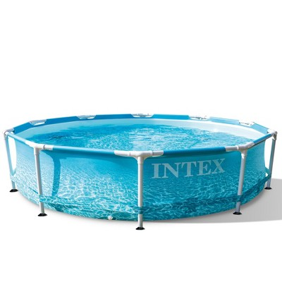 Intex 28206EH 10-Ft x 30-In Rust Resistant Steel Metal Frame Outdoor Backyard Above Ground Circular Beachside Swimming Pool with Reinforced Sidewalls