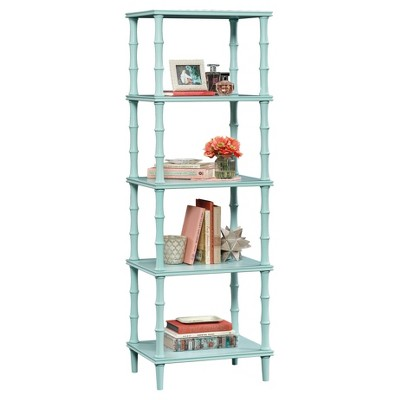 Eden Rue 4 Shelf Tower Étagère with Bamboo Style Legs - Seafoam - Sauder