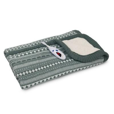 "62"" x 50"" Fair Isle Sweaterknit & Sherpa Electric Throw Blanket Cream/Gray - Biddeford Blankets"