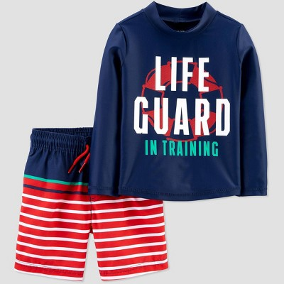 Toddler Boys' Life Guard Swim Rash Guard Set - Just One You® made by carter's Red 12M