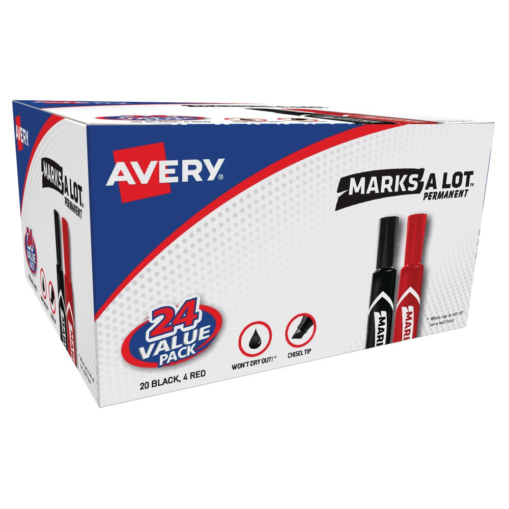 Image of Avery 24pk MARK A LOT Regular Desk-Style Permanent Marker Black/Red, Red Black