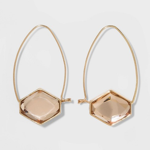 Wire Frame Hexagon Hoop Earrings - A New Day™ - image 1 of 3