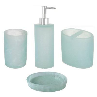 4pc Geneva Bath Set Aqua - Popular Bath