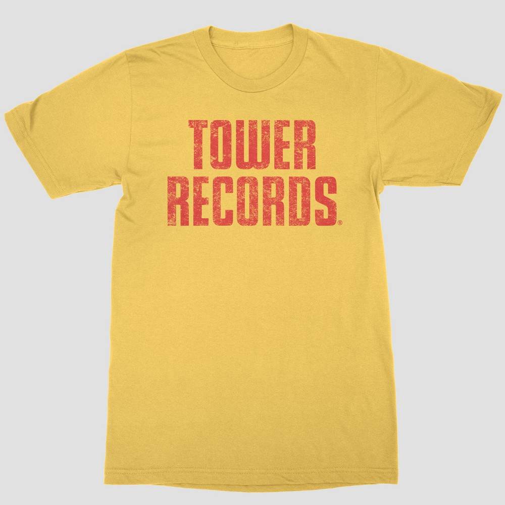Men's Short Sleeve Tower Records Crew T-Shirt - Yellow XL