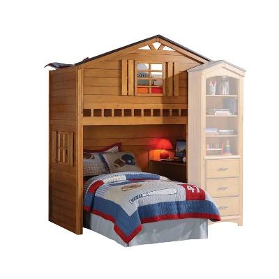 Twin Tree House Kids' Loft Bed Rustic Oak - Acme Furniture