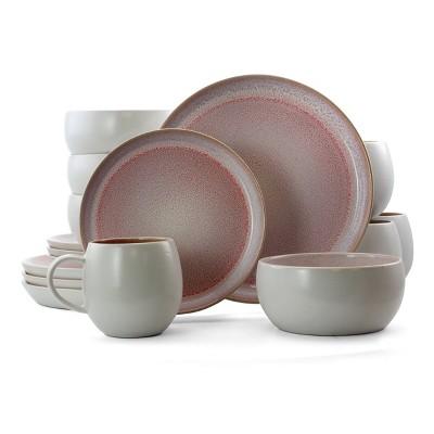16pc Stoneware Sugar Dinnerware Set Pink - Elama