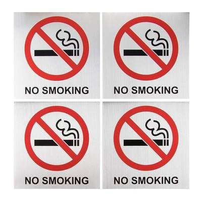 """No Smoking Signs - 4-Pack Metal No Smoking Square Aluminum Signs, Self-Adhesive, Ideal for Public Spaces, Coffee Shops, Restaurants, 5.5x5.5"""""""