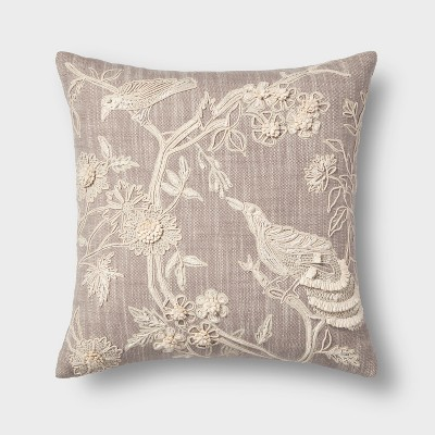 Embroidered Bird Square Throw Pillow Natural - Threshold™