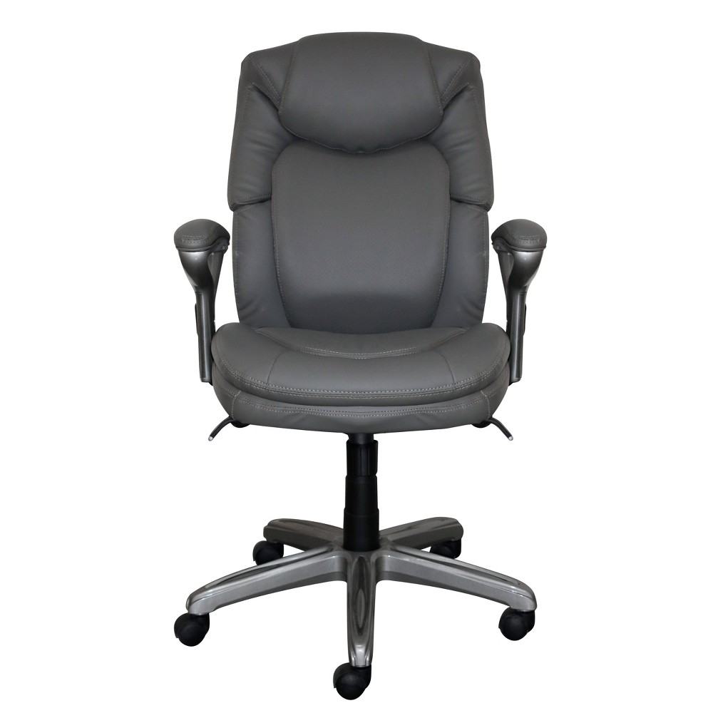 Wellness By Design Mid Back Leather Office Chair Gray - Serta