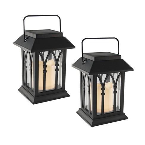 Set of 2 Solar Powered Mini LED Lanterns Black - LumaBase - image 1 of 3