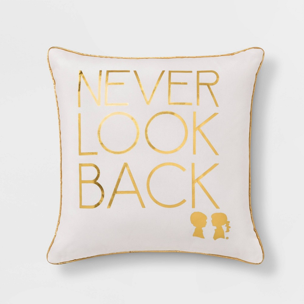 "Image of ""Boy Meets Girl Never Look Back 18""""x18"""" Throw Pillow, White"""