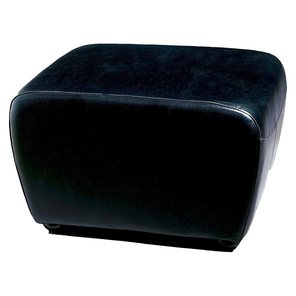 Full Leather Ottoman with Rounded Sides Black - Baxton Studio