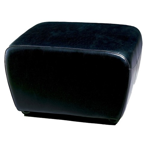 Full Leather Ottoman with Rounded Sides Black - Baxton Studio - image 1 of 4
