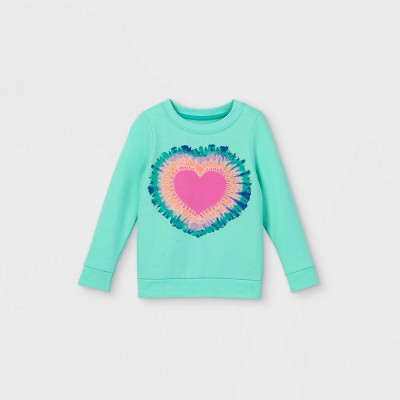 Toddler Girls' Heart Tie-Dye Sweatshirt - Cat & Jack™ Teal
