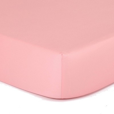 The Peanut Shell Solid Cotton Fitted Crib Sheet - Coral