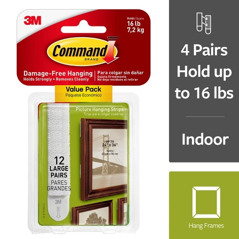 Command Large Sized Picture Hanging Strips (12 Sets of Strips) White