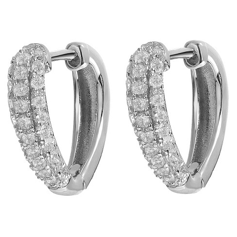 2 2/5 CT. T.W. Square-cut CZ Hoop Pave Set Earrings in Sterling Silver - Silver - image 1 of 3