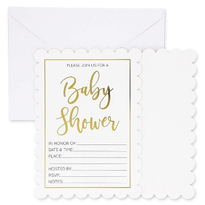 36-Pack Gold Foil Unisex Baby Shower Invitations with Envelopes 5 X 7 inches