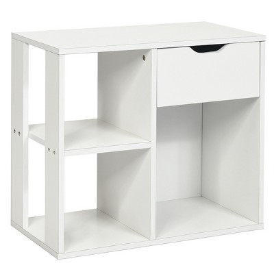 Costway 3-tier Side Table W/Storage Shelf&Drawer Space-saving Nightstand White