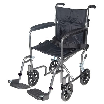 """Drive Medical Lightweight Steel Transport Wheelchair, Fixed Full Arms, 17"""" Seat"""