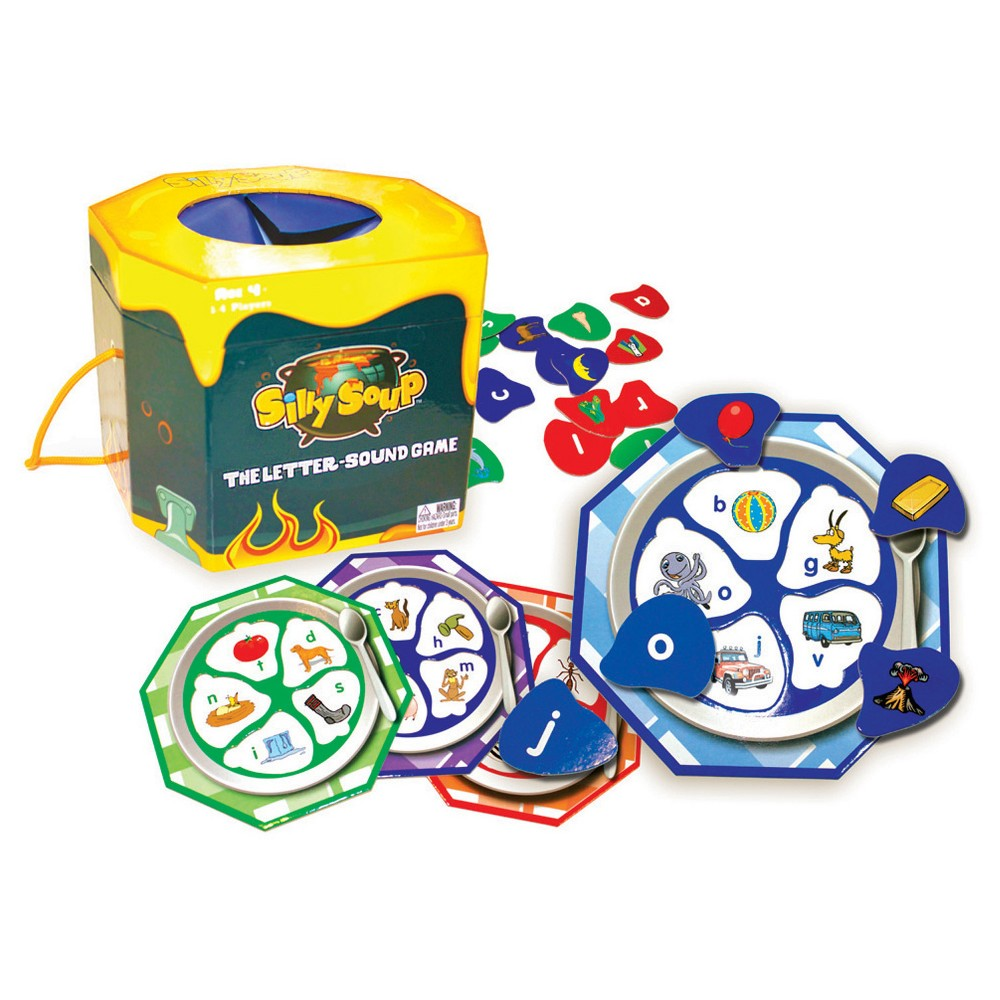 Junior Learning Silly Soup - The Letter Sound Game The letter-sound awareness game. Teach isolating, matching, comparison of sounds, and sounds within words. Pull objects out of the cauldron and match to the sounds in your soup bowl. First player to fill their bowl wins! Contains: 4 soup bowl puzzle boards, 20 object cards, cauldron box with feely hole (7x7 x7 ), game guide. For 1-4 players. Ages 4-6 yrs.