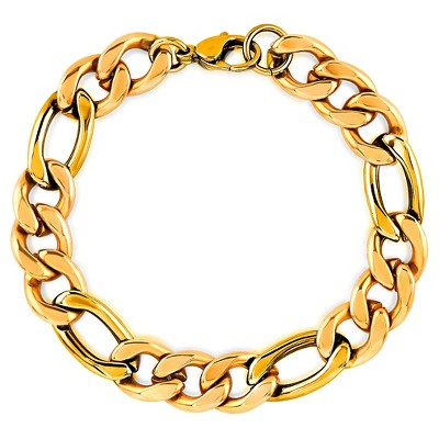 """Men's Crucible Gold Plated Stainless Steel Figaro Chain Bracelet (11mm) - Gold (9"""")"""