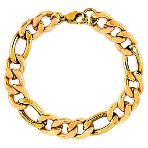 "Men's Crucible Gold Plated Stainless Steel Figaro Chain Bracelet (11mm) - Gold (9"") - image 1 of 3"