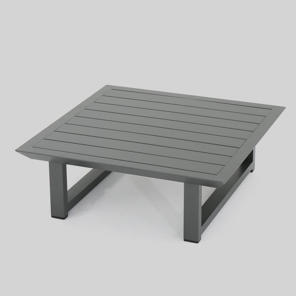 Surprising Bronte Aluminum Patio Coffee Table Gray Christopher Knight Home Pabps2019 Chair Design Images Pabps2019Com