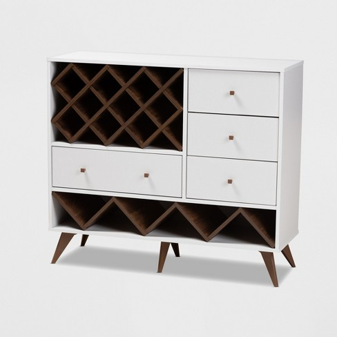 Savino and Walnut Finished Wood Wine Cabinet White/Brown - BaxtonStudio - image 1 of 9