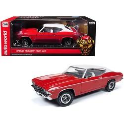 "1969 Chevrolet Chevelle COPO Red w/Matt White Top ""Class of '69"" Ltd Ed to 1,002 pcs 1/18 Diecast Model Car by Autoworld"