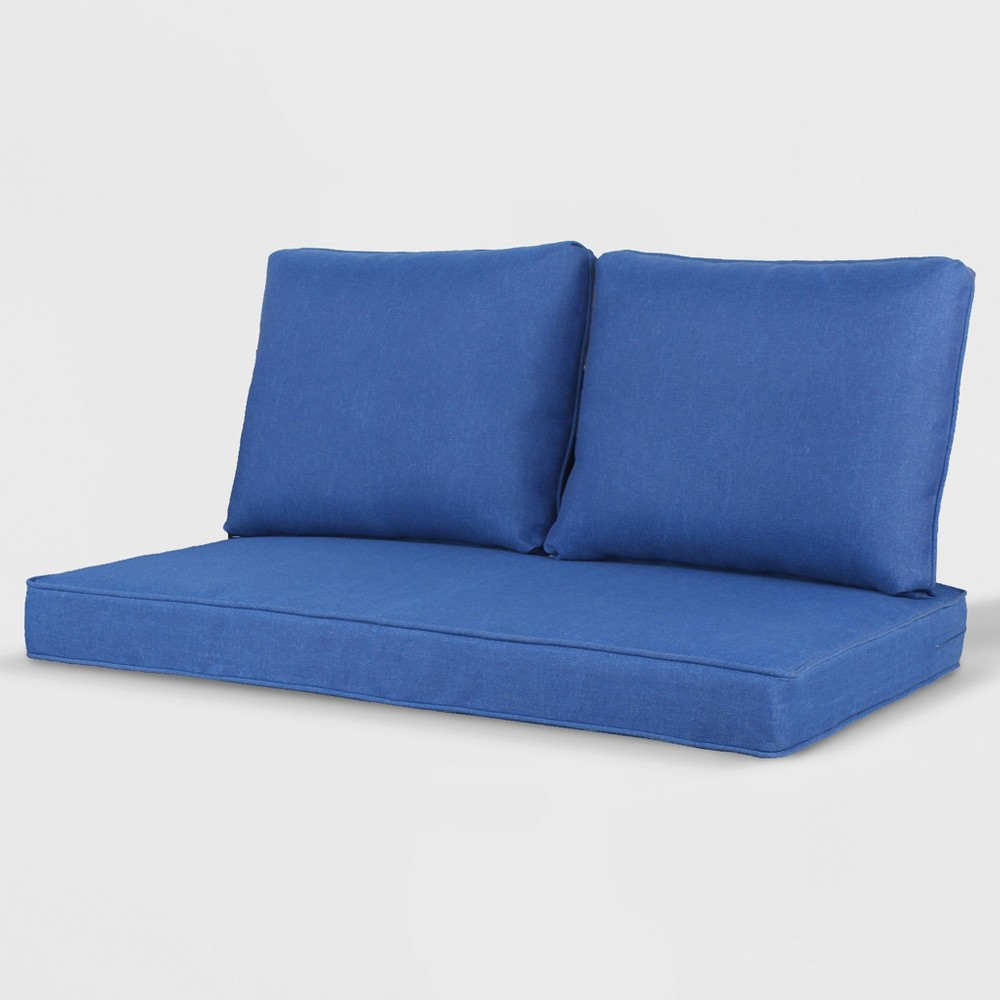 Rolston 3pc Outdoor Loveseat Cushion Cobalt (Blue) - Grand Basket